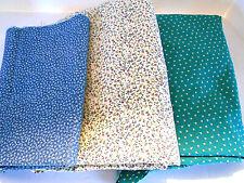 Lot of 3 cotton calico quilt fabrics sm flowers blue green cream 1.5-2 yds each