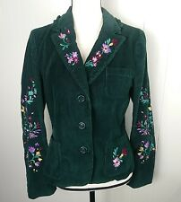 Cheap and Chic Womens 10 Green Corduroy Floral Embroidered Jacket Blazer Boho