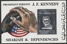 UAE Sharjah 4735 - 1972 KENNEDY M/SHEET in SILVER unmounted mint