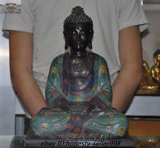 Old Tibet Temple Bronze Cloisonne Enamel Shakyamuni Tathagata Buddha Statue
