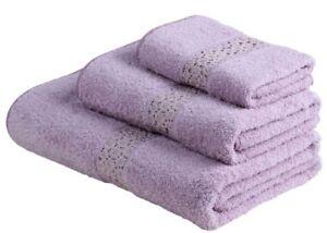 NEW Frette TANGERI PIZZON 2 Bath Sheets + 2 Guest Towels Lilac GOLD LACE Rare