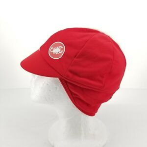 B55 Castelli Risvolto Unisex Red Winter Cycling Cap Hat Fleece Lined