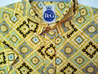 VTG Robert Graham Hawaiian Mens Large Casual Shirt Button Down Medallions 90' RG