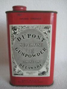 Vintage Dupont Superfine Gunpowder Can Tin Black Powder Wilmington Delaware