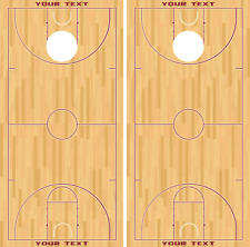 Basketball Court Customizable Cornhole Board Skin Wrap Decal SET -LAMINATED