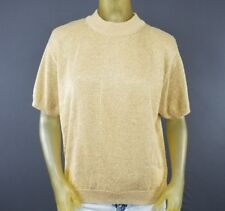 Gold Acrylic Lurex Glittery Shirt Norton McNaughton Shoulder Pads Large Vtg D6
