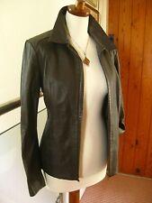 Ladies M&S brown real leather JACKET COAT UK 14 12 biker harrington slim fit