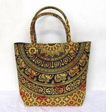 Indian Yellow Tie Dye Elephant Mandala Handbag Women Shoulder Shopping Bag Throw