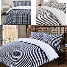 Soft Check Reversible 100% Cotton Woven Duvet Cover Pillowcase Bedding Set
