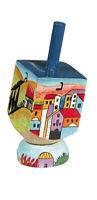 Jerusalem Hanukkah Hand Painted Dreidel with Stand - Chanukah Gift - Jewish
