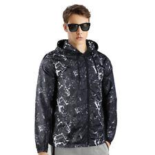 Men's Print Casual Sun protection Hooded Windbreaker Lightweight Skin Jacket