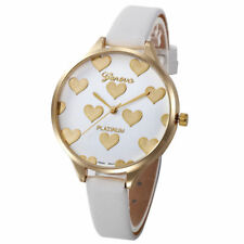 Ladies Fashion Gold Case White & Gold Heart Design Face Slim Band Wrist Watch.