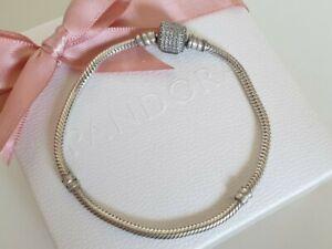 Pandora Armband 20 cm Zylinder Verschluss weiße Steine Schlangenarmband Topzusta