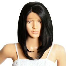 NWT ICENEL Medium Short Straight 12inch Synthetic LaceFront Wig 1B Off Black 008