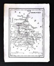 1833 Perrot Tardieu Miniature Map - Ardennes - Vouziers Mezieres Rethel - France