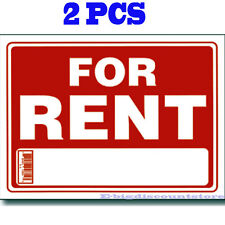 """2 Pcs  """" FOR RENT """"  9"""" x 12"""" Red & White Flexible Plastic Sign BAZIC s-4"""