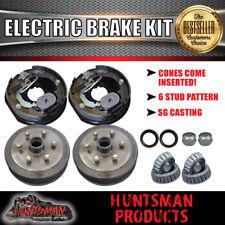 "10"" 6 Stud Trailer Electric Drum Brake Kit & Handbrake. S.G Cast Drums. Caravan"