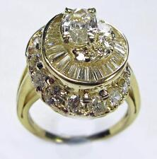 Women Engagement Diamond Cluster Ring 2.25CTW w/ Oval Cut Center 14K Yellow Gold
