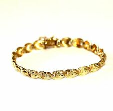 "14k yellow gold fancy link bracelet 13.5g vintage 8"" safety chain estate antique"