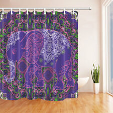 Old Purple India Elephant Bathroom Shower Curtain Fabric 71*71in With Hooks