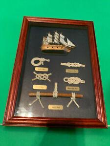 Vintage Clipper Ship & Nautical Knots Framed Shadowbox Wall Art