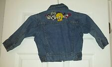 Warner Bros Studio Kids XS Jean Jacket Denim Coat Looney Tunes Embroidery