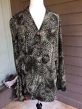 Animal Print Tunic Blouse Button Front 100% Rayon Sz 12 DANA BUCHMAN Vintage 90s