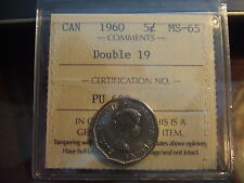 CANADA FIVE CENTS  1960 ICCS MS-65 DOUBLE 19....