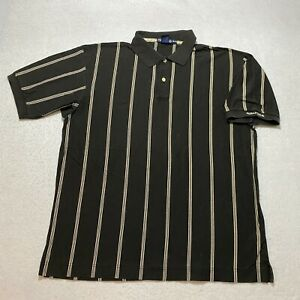 Vintage Nautica Striped Polo Shirt Size XL Black Collared Embroidered Mens