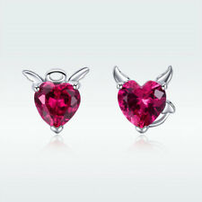 Devil Angel S925 Sterling Silver Stud Earrings Red Gem Jewelry For Fashion Women
