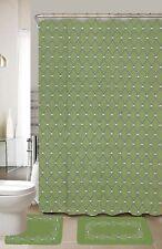 Jacky Green & Gray 15-Piece Bathroom Accessory Set 2 Bath Mats Shower Curtain