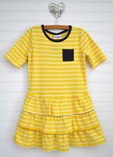 Girls HANNA ANDERSSON Sz 110 - 4 5 6y Yellow Stripe Dress Ruffle Drop Waist