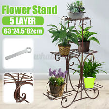 More details for 5 tier metal plant stand home garden pot flower display shelf rack outdoor decor