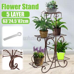5 Tier Metal Plant Stand Home Garden Pot Flower Display Shelf Rack Outdoor Decor
