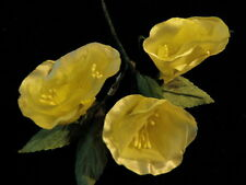 """Vintage Millinery Flower BellShaped 1 3/4"""" Lot of 3 Yellow for Hat + Wedding Y46"""