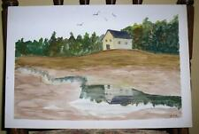ANTIQUE FOLK ART YELLOW HOUSE BIRDS REFLECTION POND RIVER PRIMITIVE W/C PAINTING