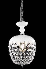 CRYSTAL CHANDELIER WHITE & CLEAR KITCHEN DINING LIVING ROOM BEDROOM 1 LIGHT 13""