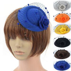 Lady Dress Pillbox Hat Fascinator Hair Clip Rose Veil Accessories Party Wedding