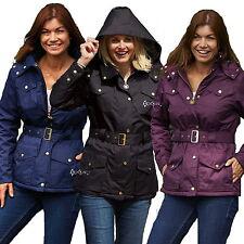 Ladies Jacket Waterproof Raincoats Country Estate Champion Belt Zip Hood Braemar