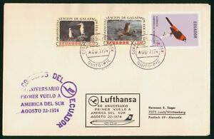 MayfairStamps Ecuador 1974 50th Anniversary Lufthansa Cover wwo78649
