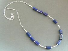 Lapis Lazuli Blue Tube Shaped Gemstones & 925 Sterling Silver Handmade Necklace