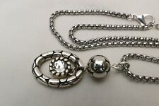 Altered Brighton Pebble Ring Silver & Crystal  Pendent Necklace