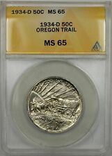 1934-D Oregon Trail Silver Half-Dollar Coin 50C ANACS MS-65 (9A)