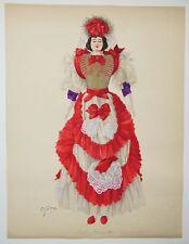 Emile GALLOIS - COSTUME de FLORENCE en 1898 (Italie) AQUARELLE ORIGINALE Signée