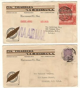 Mexico 1936 2 illustrated covers,CIA, Cigarrera, Tobacco industry to USA