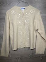 Vintage Pendleton Wool Women's Size Large Cardigan Sweater Cream Flower Swirl