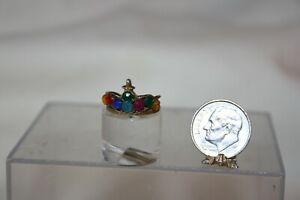 Miniature Dollhouse Vintage Childs Toy Play Jeweled Tiara Crown 4 Princess1:12