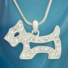 DOG W Swarovski Crystal Pet Puppy Lover Dogie New Pendant Necklace Charm Gift