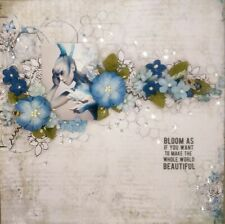 """Handmade Mixed Media 12"""" x 12"""" Scrapbook Page - Bloom as if......"""