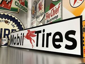 Antique Vintage Old Style Mobil Tires Sign! Mobil Oil & Gas